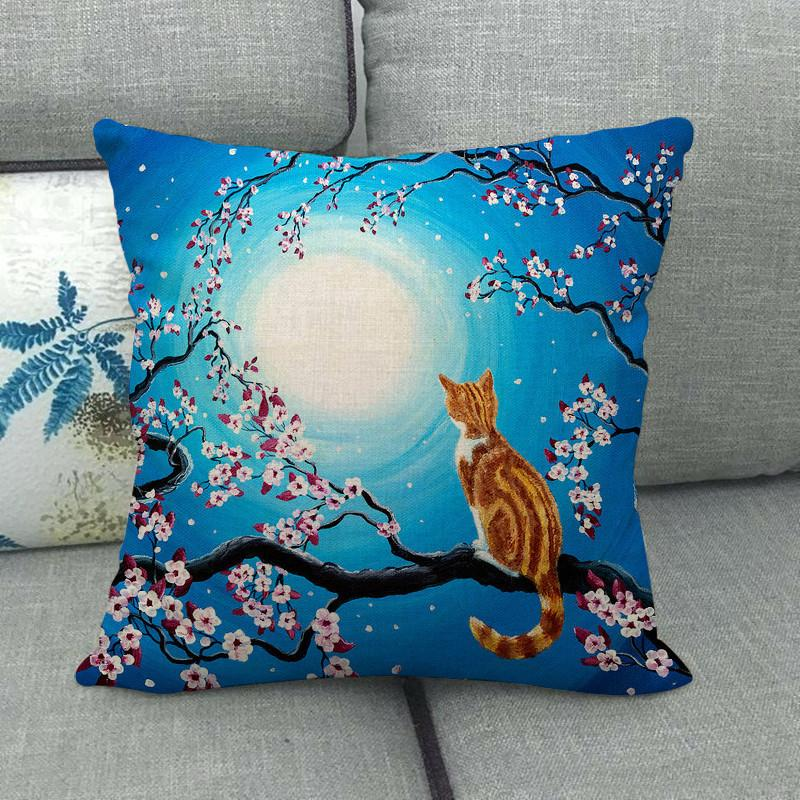 Cherry Blossoms Printing Fronha Caso Adorável Cat Padrão Flox Fashion Almofadas Casa Decoração Home Novo Padrão Venda Quente 4 2JW J2