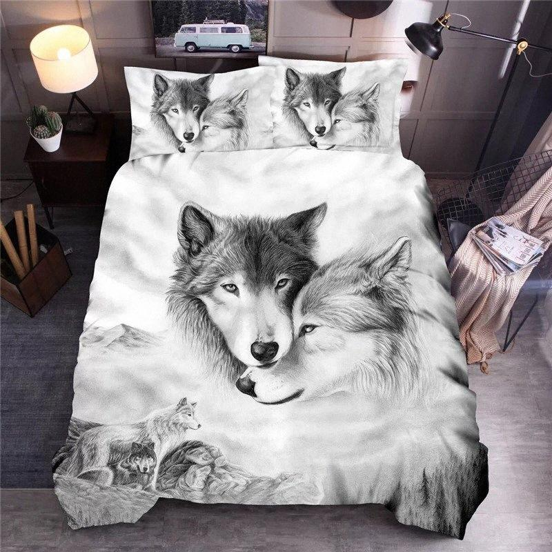 Wolf Couples Printed Bedding Sets Animal Duvet Cover Sets Queen King Quilt Cover Bed Linen EQba#