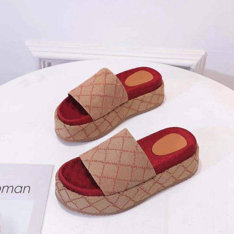 Damenmode-Hausschuhe beschichtete Leinwand-Plattform-Sandalen mit klobiger selbstgedeckter Plattformhöhe 60 mm Größe Euro 35-42