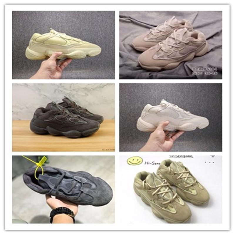 Kanye west corredor piedra suave visión desierto rata 500 hombres mujeres correr zapatos estilista hueso blanco sal súper luna amarillo rubor deporte zapatillas deportivas