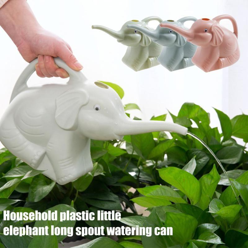 La herramienta puede flor de la planta con la manija al aire libre Jardín PP Niños riego, riego de boquilla larga del césped casero lindo de dibujos animados elefante Patio