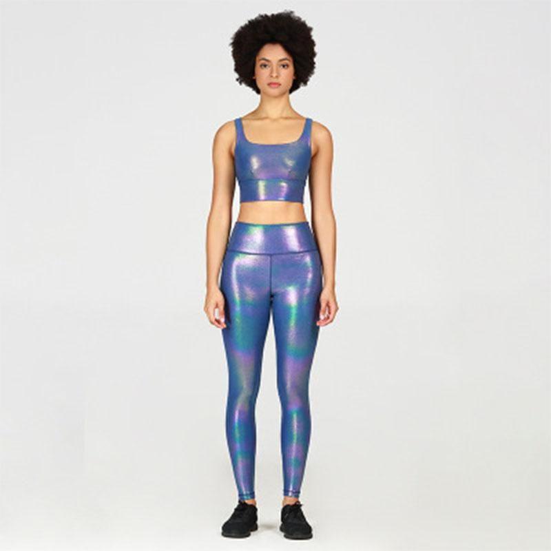 Salspor Pearl Shimmer тренировки набор тренажерный зал наряд для тренажерный зал 2 шт. Костюм йоги блестящие спортивные бюстгальтеры суставов.