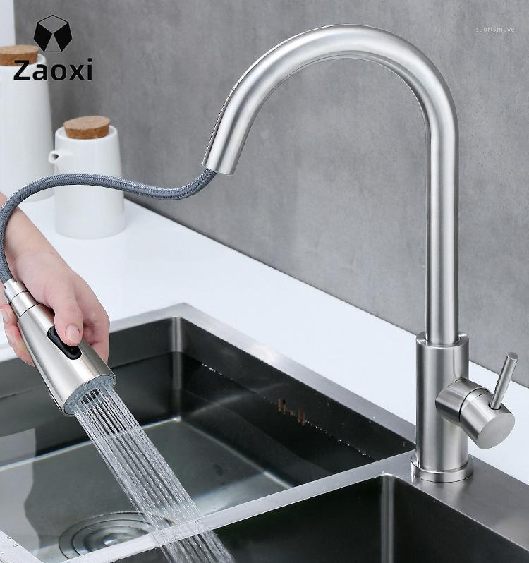 ZAOXI New Kitchen Faucet Deck Mounted Tap Pull Stretch 360Degree Rotation Stream Sprayer Nozzle Kitchen Sink Hot Cold Taps Z2851