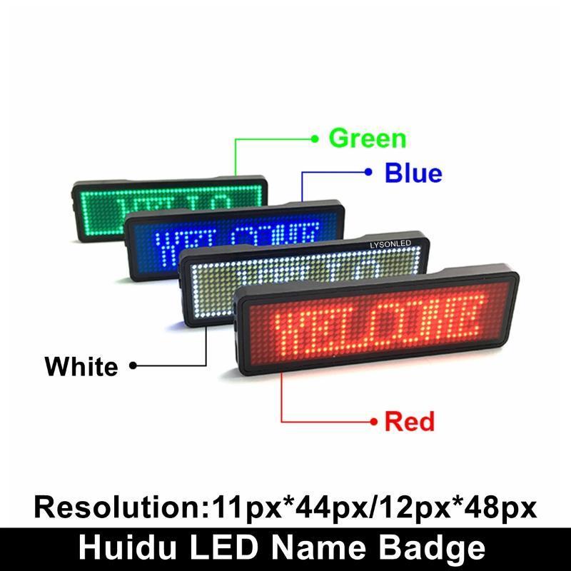 Spedizione gratuita Rosso Blu Verde Bianco Bianco Ricaricabile Nome LED Badge 44x11 Dots Single Color Snowing Message Tag