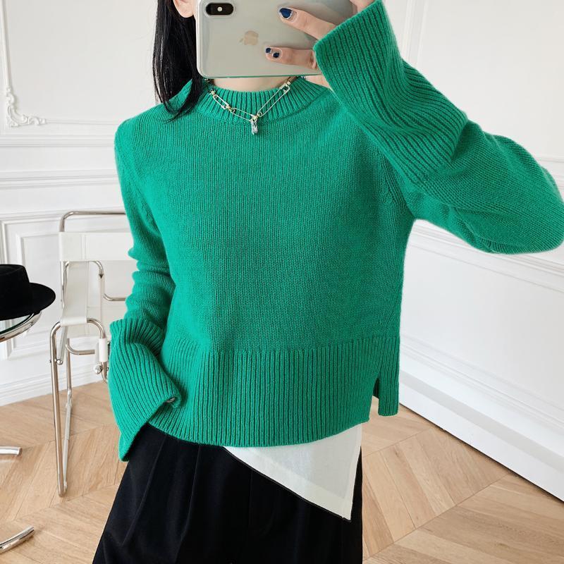 Women Sweater 2020 New Short Round Neck Pullover Green Sweater