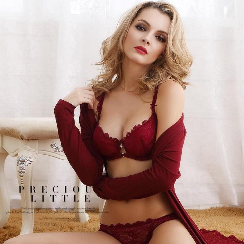 Luxueux européen et américain femmes sexy mince dentelle transparente grande lingerie ultra-mince sous-vêtements push up soutien-gorge