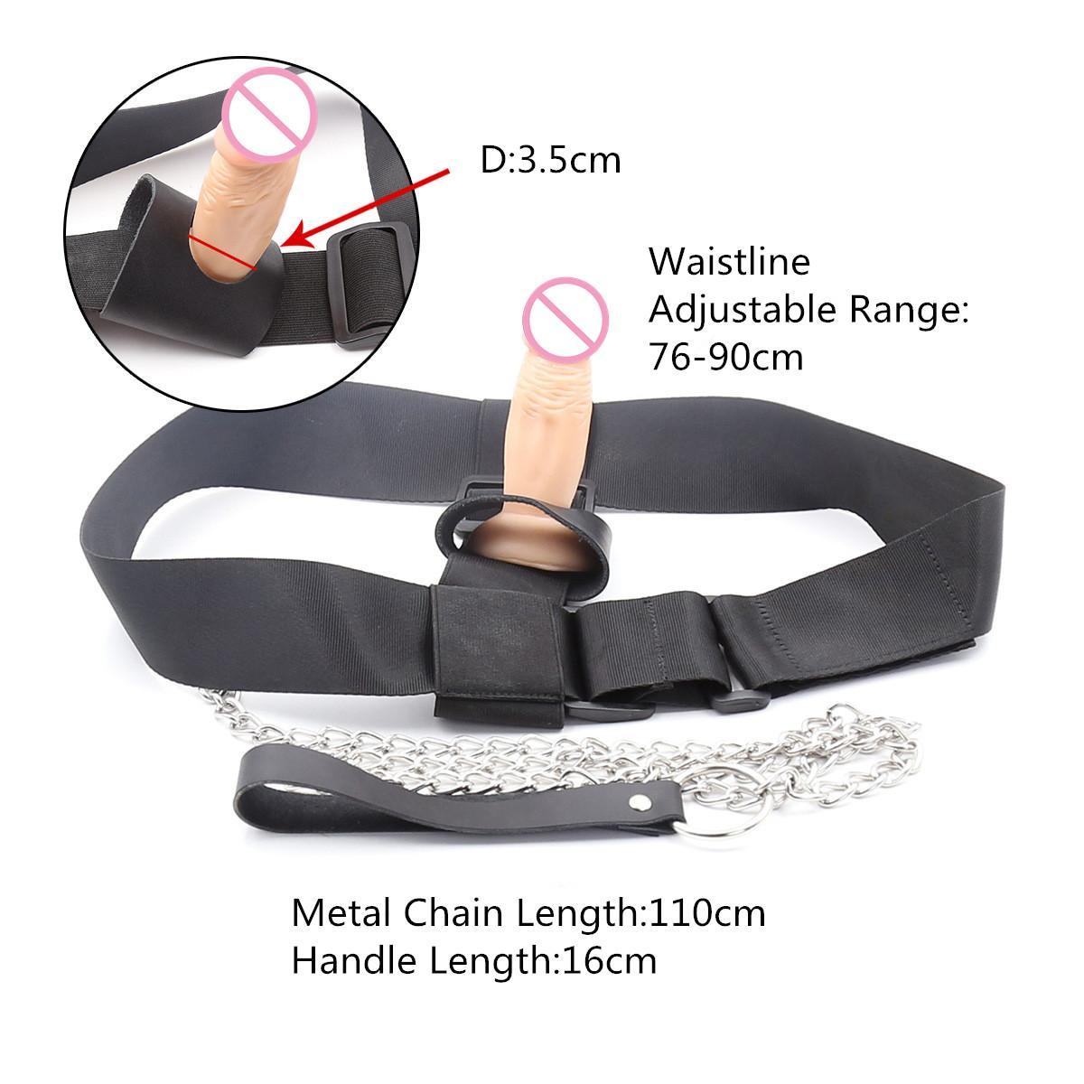 Erotico indossabile cintura cintura strapon Dildo Dildo Plum Panties anale con catena metallica per giocattoli sexy lesbici per giochi adulti