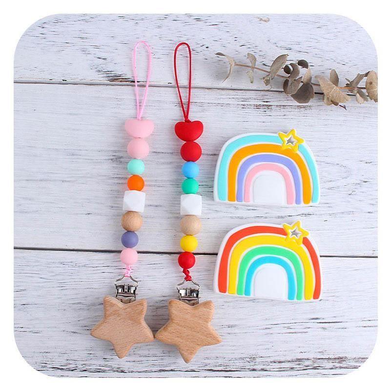 2021 Regenbogen Säuglingsnippel Clip + Baby Beißring 2 teile / satz Silikon Kinderkrankheiten Perlen Holz Neugeborenen Schnuller Clip Baby Schnuller Kette