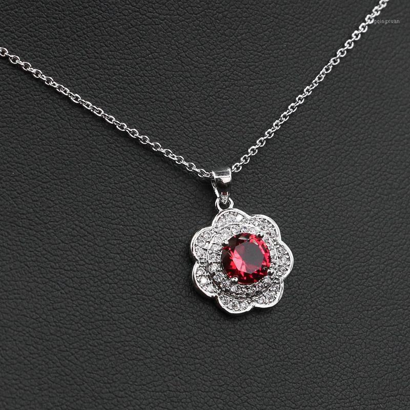 Luxus Blume Anhänger Halsketten Für Frauen Hochzeit Engagement Modeschmuck Runde CZ Collier Femme Weihnachtsgeschenk1
