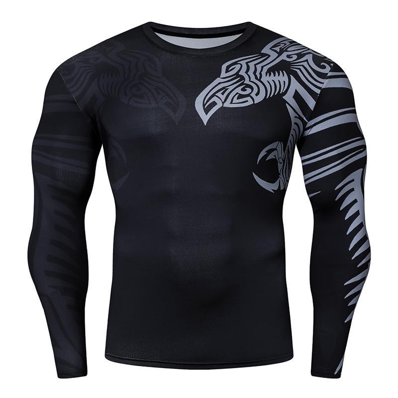 Automne hiver Nouvelle Mode de haute qualité Vente chaude Hommes T-shirt avec écharpe à manches longues 3D T-shirt de compression Gym Fitness Running Sport Tops