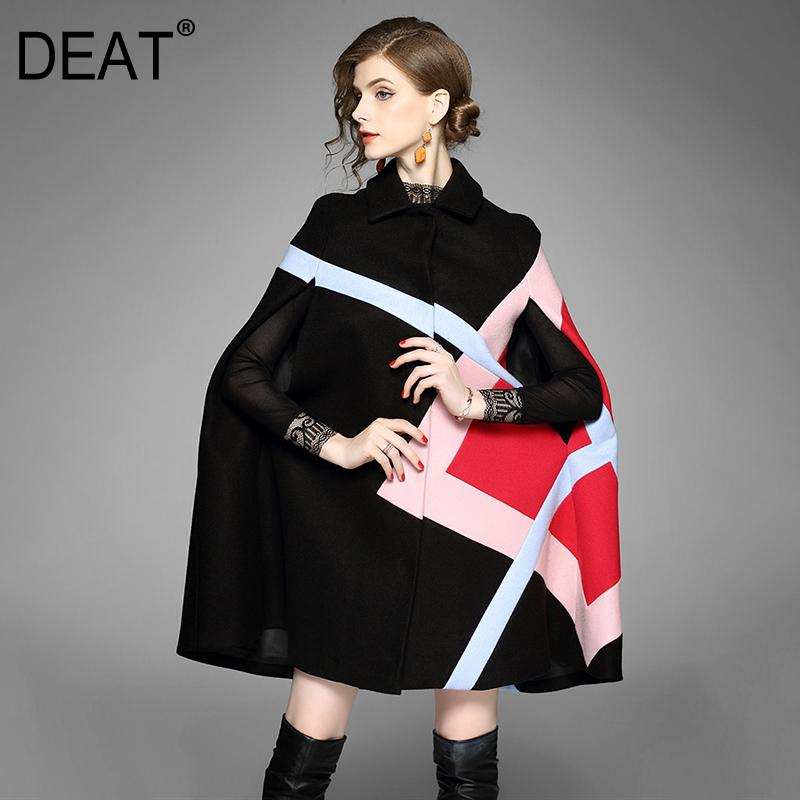 [DEAT] Fashion Trend nuovo modello dell'annata delle donne temperamento manica della maglia mantello di lana di lana risvolto Collare Wil Coat AI464 201009