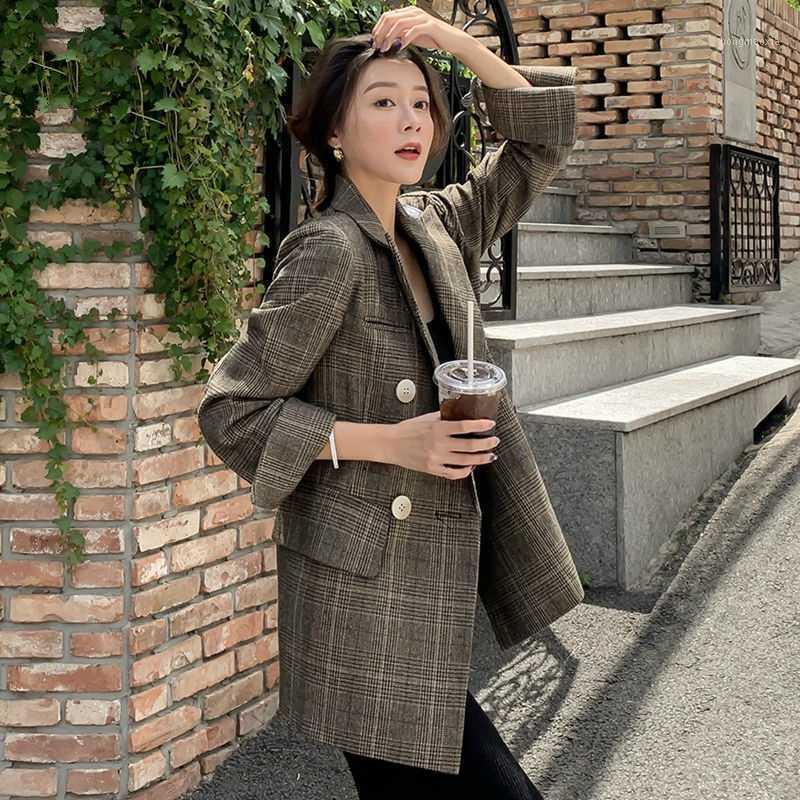 Veste blazer à plaid de femmes 2020 Spring Automne Coats1