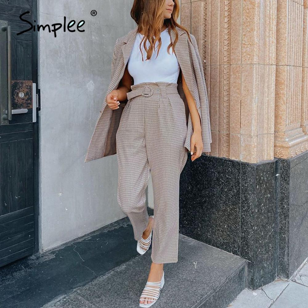 Simplee Fashion plaid women blazer suits Long sleeve Single-breasted belt blazer pants set Office ladies two-piece blazer sets 201009
