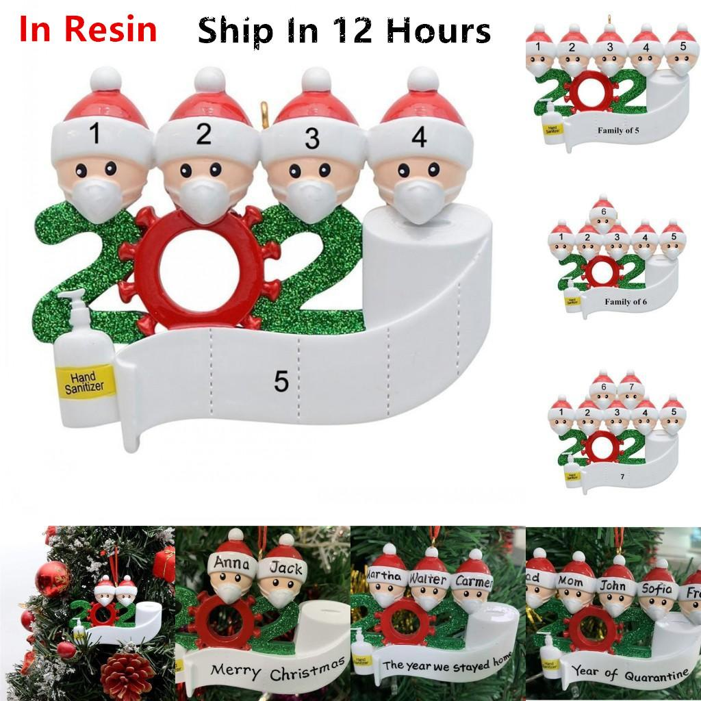 2020 Quarantine Christmas Ornaments Resin Customized Gift Family of 2-7 Hang Decoration Snowman Pendant With Face Mask Hand Sanitizer DHL