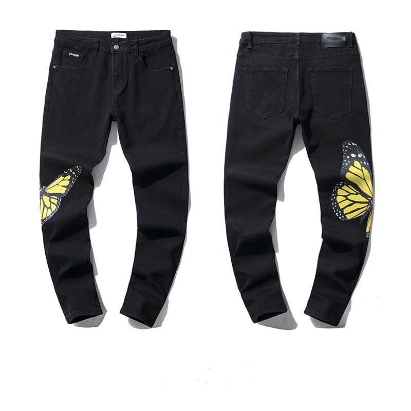 2021 Yüksek Kalite Erkek Designe Jeans Sıkıntılı Motosiklet Biker Kot Kaya Sıska Yırtık Delik Şerit Ünlü Marka Denim Pantolon