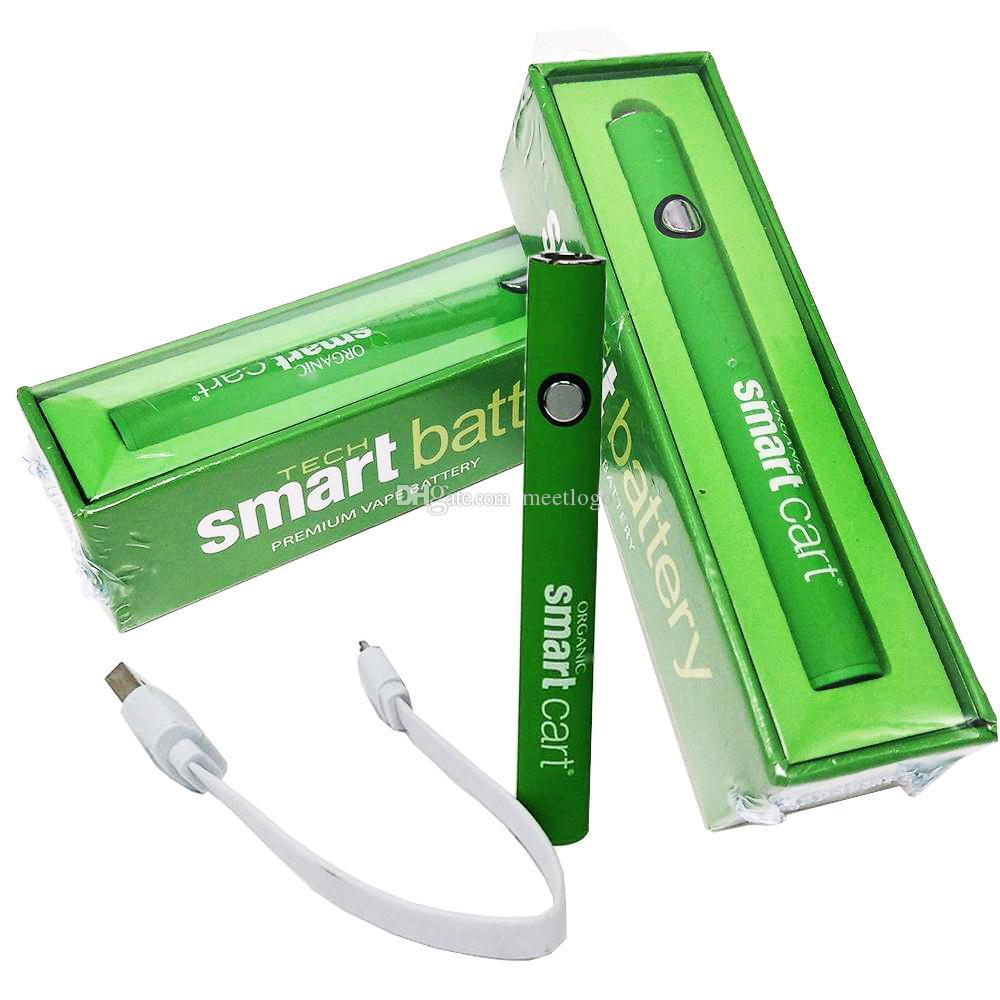 스마트 카트 배터리 가변 전압 버텍스 vape 펜 배터리 USB 충전기 380mAh 510 나사 슬림 예열 기화기 펜 배터리