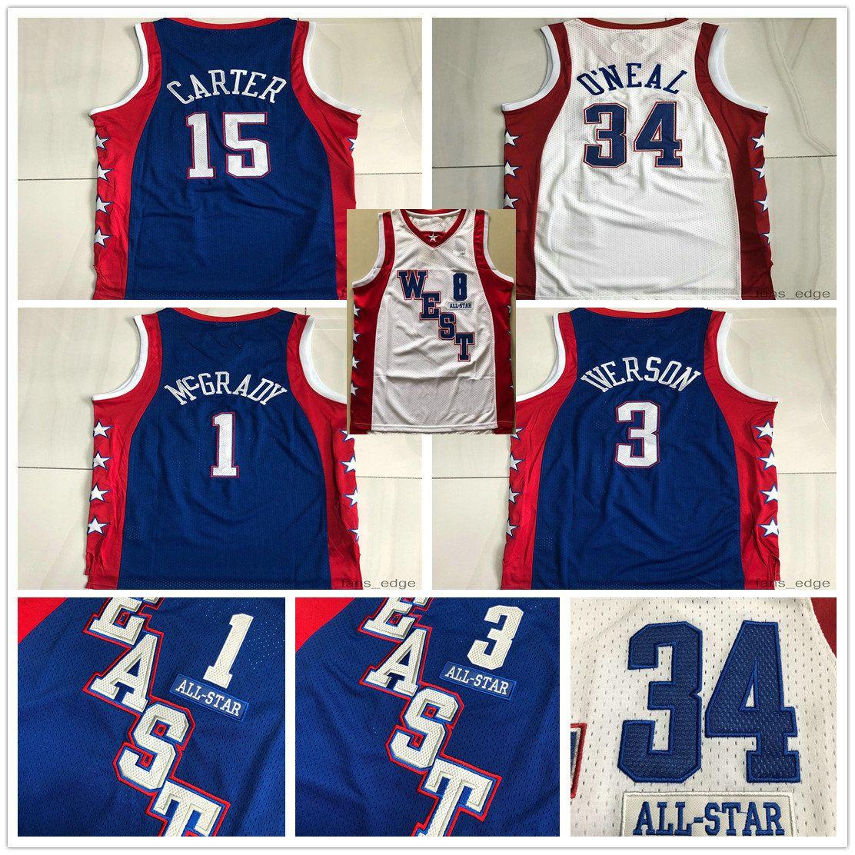Authentic Stitched 2004 Tudo Tracy Star 1 McGrady Vince 15 Carter Mitchell Ness Hardwoods Allen 3 Jerseys de basquete