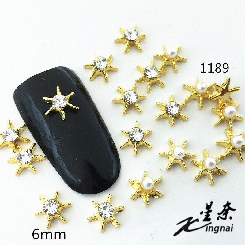 10pcs / Lot Japão 6 milímetros Estrela Starfish com strass Pérola metal da liga Decorações Nail Art Stickers / Encantos / Ferramentas para o Manicure vVa5 #