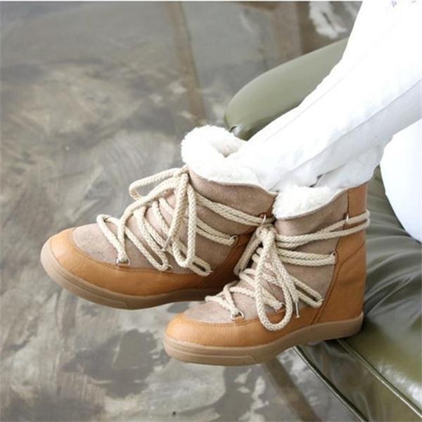 Hot Sale Sorriso Círculo Inverno Para Mulheres Lace-up do salto alto Elevador Sapatos Mulheres de Wedge tornozelo Aqueça Plush botas de neve