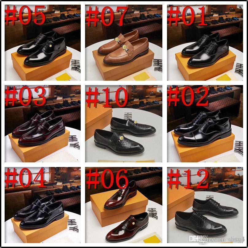 Q4 19SS 새로운 큰 크기 38-48 디자이너 운동화 가죽 남성 신발 패션 캐주얼 미끄러짐 공식 비즈니스 웨딩 드레스 신발 33