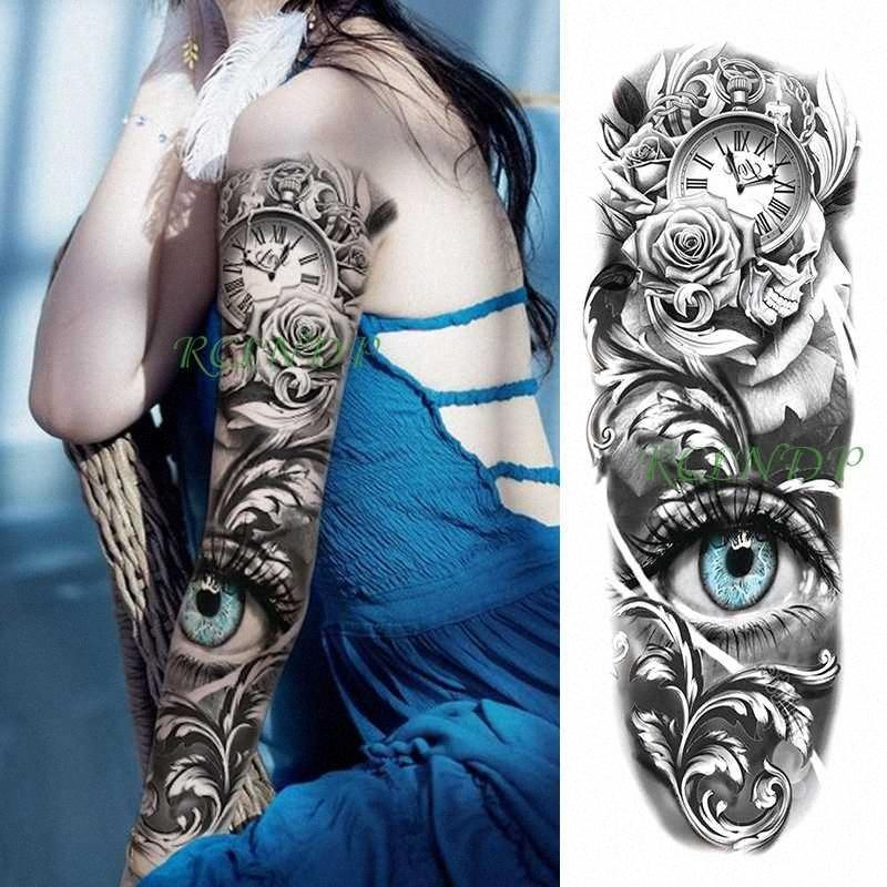 Татуировки наклейки Водонепроницаемый Временные карманные часы цветок Big Eye Planet Полная охр Поддельный Tatto Флэш Tatoo для мужчин Женщины Сделать Temporary Ta uHYL #