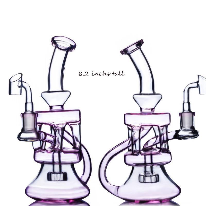 핑크 유리 봉수 파이프 물 담뱃대 비커 봉유 버너 파이프 리사이클 러 Dab rigs Percolater cyclone 유리 봉 장비 vbbler 지우기 perc