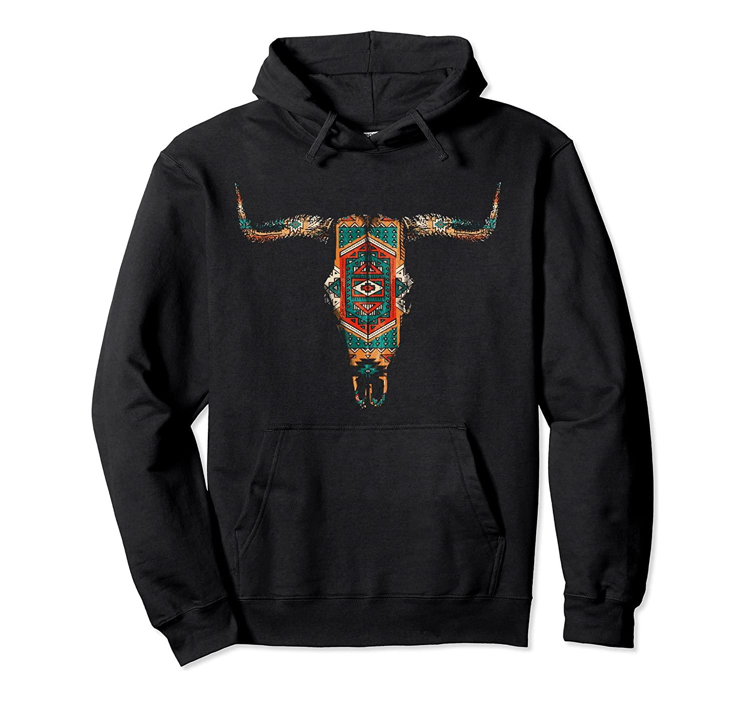 Vintage Aztec Indian Pattern Bull Skull Cowgirl Pullover Hoodie Unisex Size S-5XL with Color Black/Grey/Navy/Royal Blue/Dark Heather