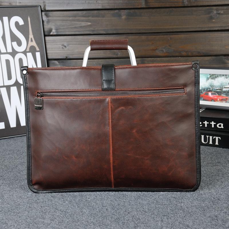 Design simples de couro masculina de couro com punho de metal homens de negócios bolsa de documento clássico escritório mens malas bolsa1