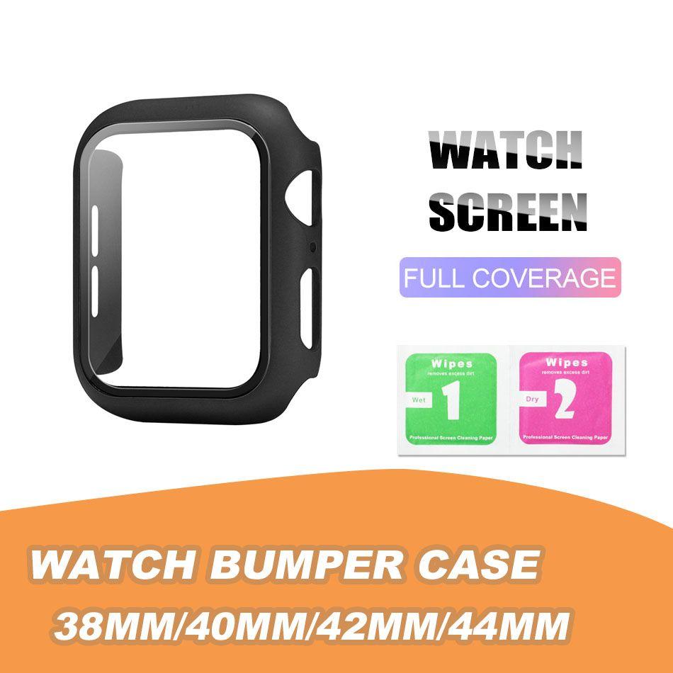 Matte Hard Watch Case com Protetor de Tela para Apple Iwatch Series 5/4/3/2/1 Capa de Cobertura Completa 38 40 42 44mm