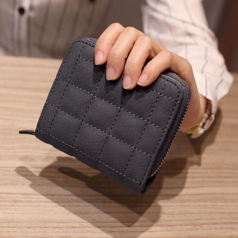 HBP женщины короткие кошельки PU кожа женские клетки кошельки Nubuck держатель карт кошелек мода женщина маленькая молния кошелек с монетой кошелек синий