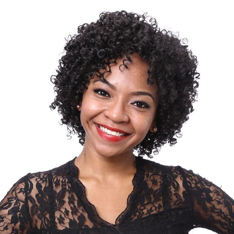 Perruque Europe et États-Unis Populary Black Dames Fibre chimique Petites boucles Set Afrique Courties cheveux bouclés Stiziling Selling Manufactur