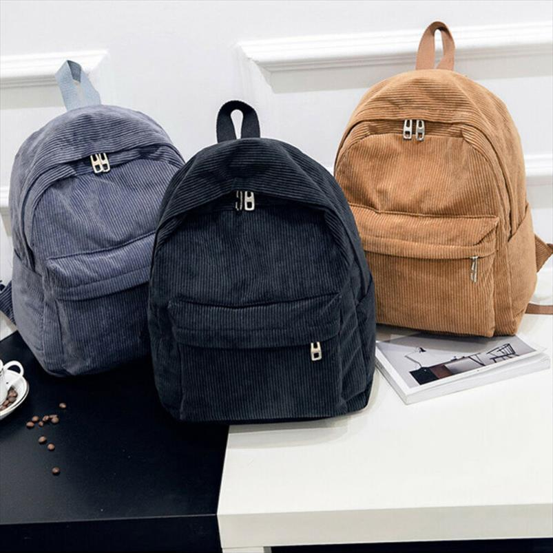 NoEnName Null Bohemia Velvet Corduroy Travel Backpack Women Lady Pure Color Travel School Bag College08