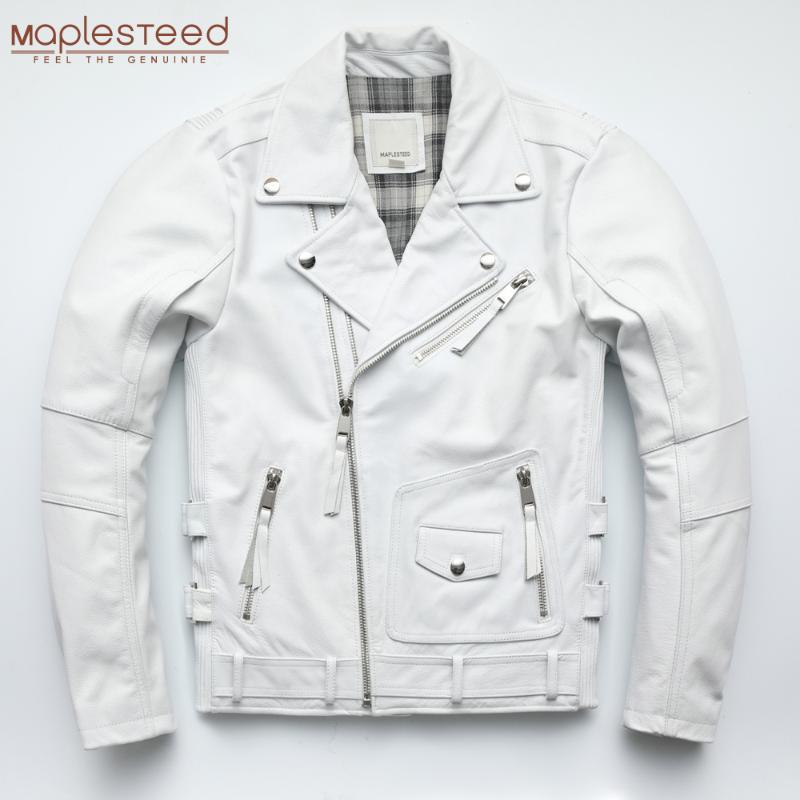Blanc Army Green Wine Green Rouge Moto Jacket Hommes Cuir Jacket 100% Cowhide Moto moo motard manteau en cuir hiver chaud m455