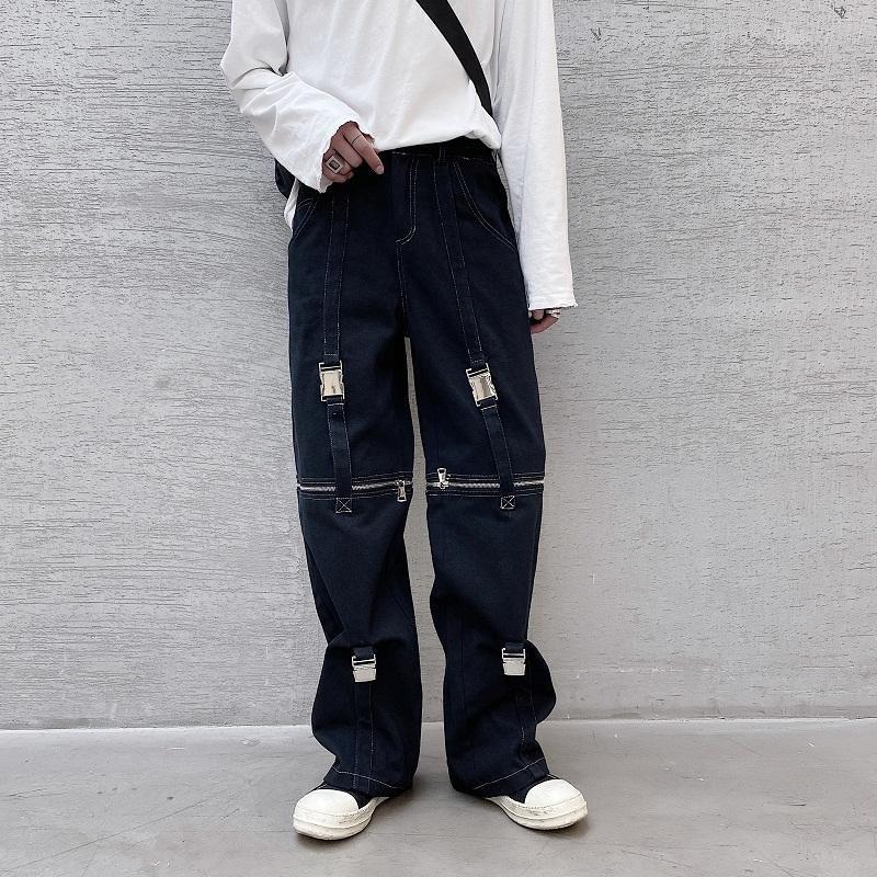 Masculina Streetwear Hip Hop Fashion Show Blanco Negro pantalones ropa de la etapa de los hombres ajustable cremallera recta ocasional Pant Pantalones