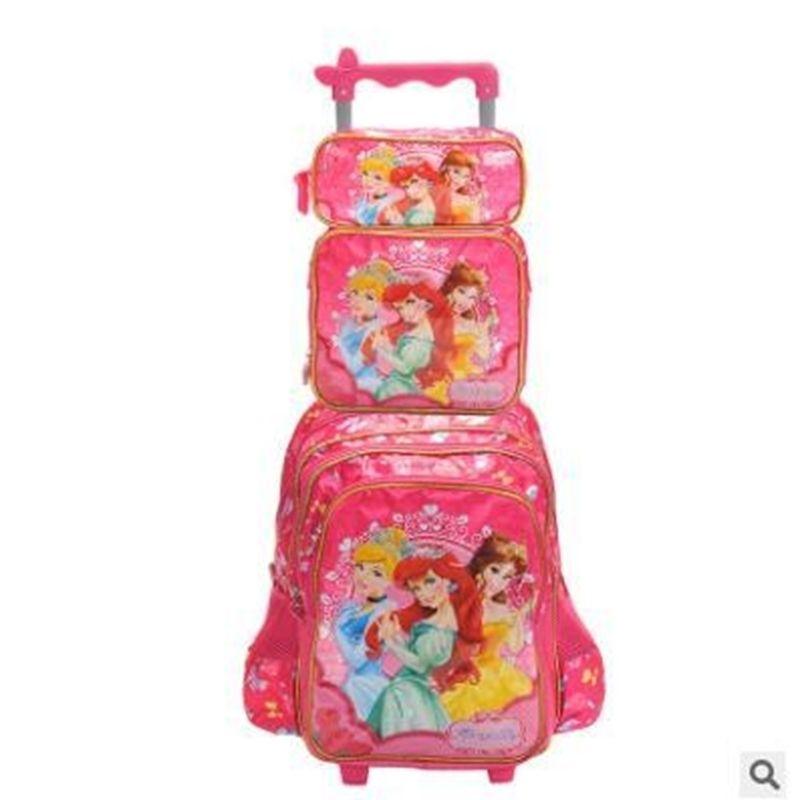 Enfants Sacs Enfants School avec roues Roulants pour Fille Voyage Trolley Bagage Sac à dos Y200328