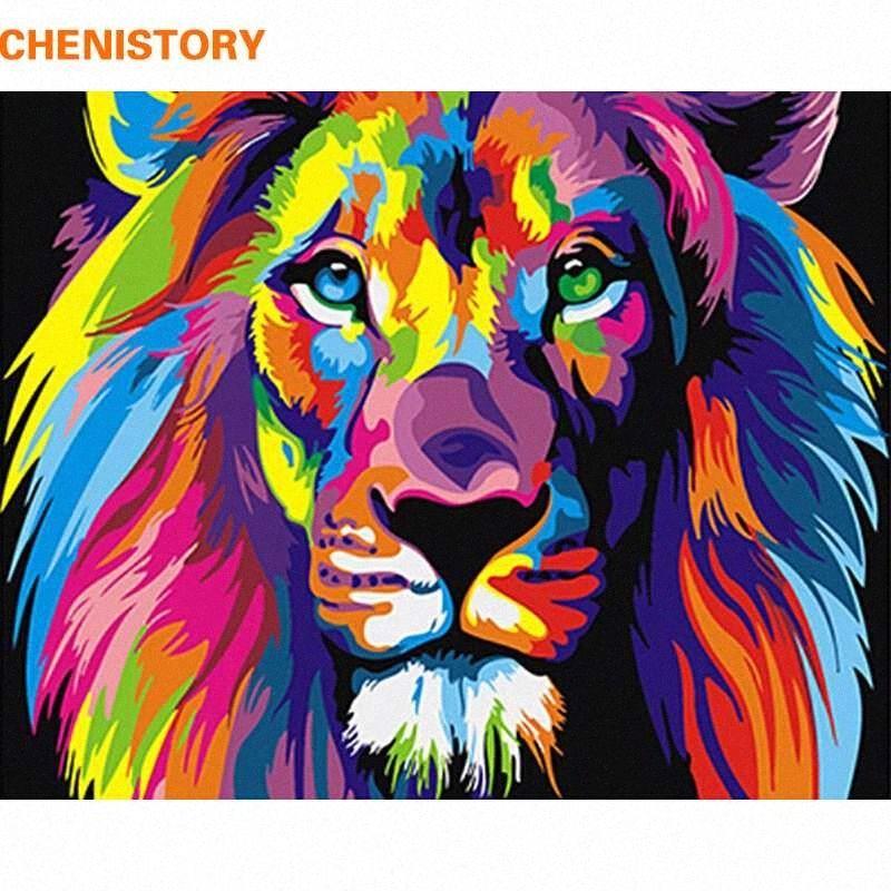 Lion animaux colorés sans cadre Peinture abstraite Diy numérique Paintng By Numbers moderne Wall Art Image Pour la maison # mur Création kLVy