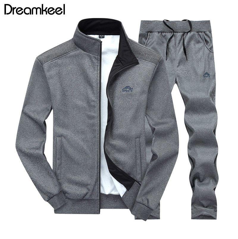 Мужчины Sportswear Set Brand Mens костюм Спортивные Фитнес Одежда Две пьесы с длинным рукавом куртки + брюки Casual Мужские костюмы у дорожки