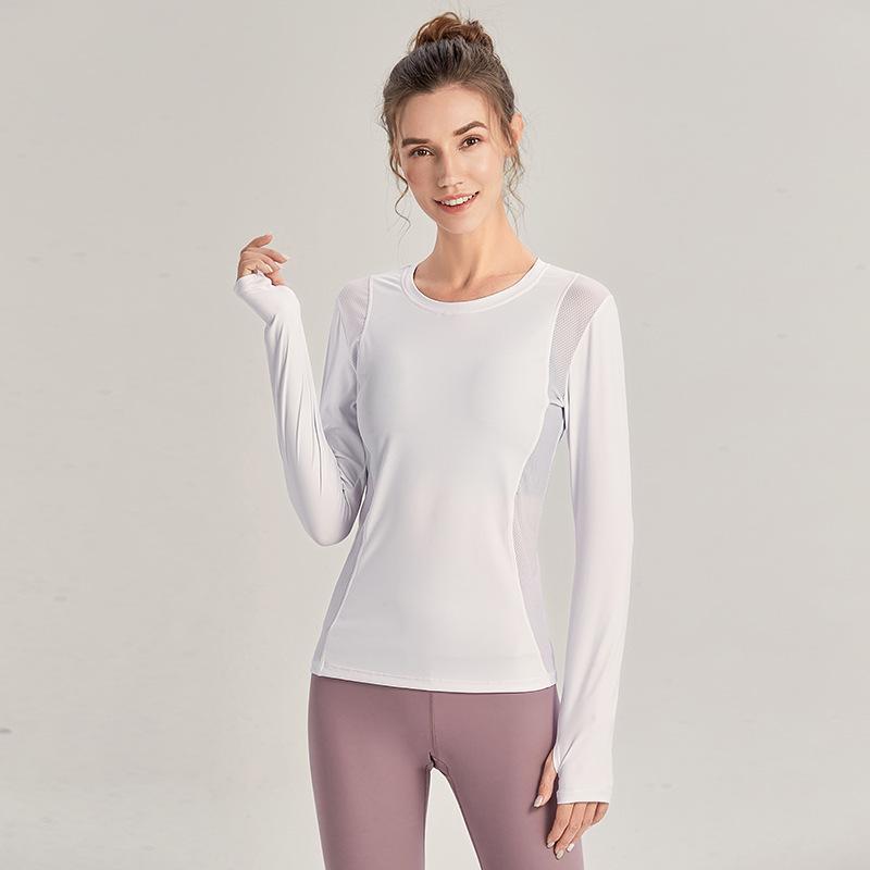 قميص المرأة قمم المحملات المصممين الملابس روبا دي موهير الجري مرونة التجفيف السريع شبكة خياطة ضئيلة عارضة طويلة الأكمام