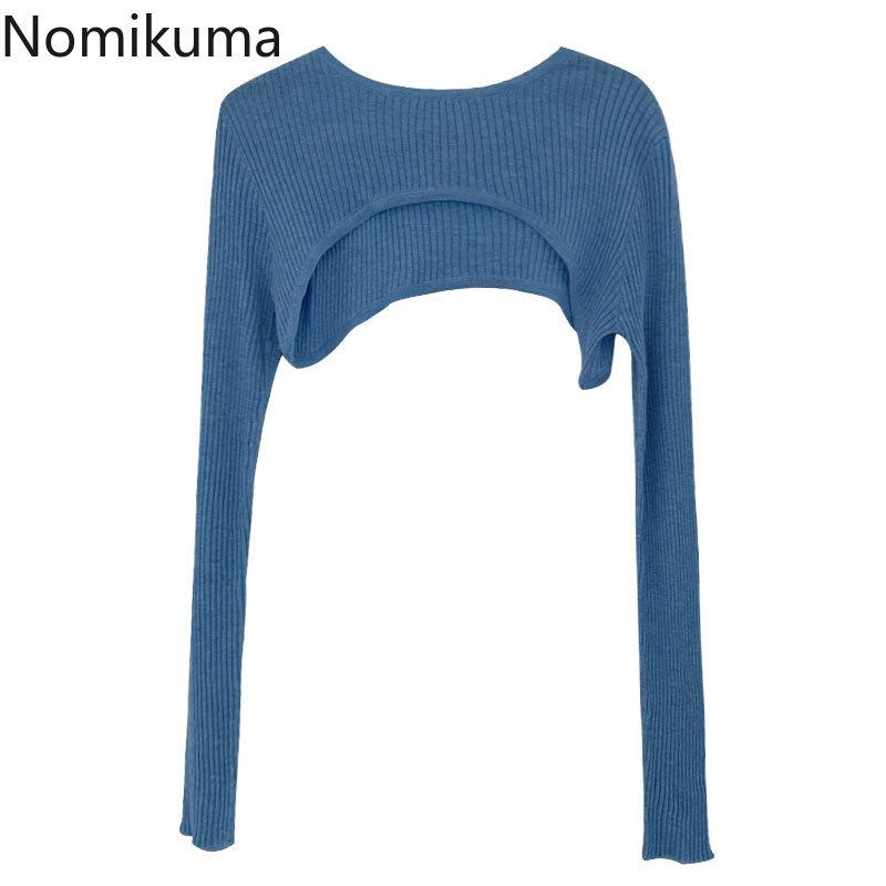 Nomikuma Super High Court taille Pull à manches longues Maille Nouveau O-cou en tricot solide Tops femme sexy Jumpers Pull 6B528 201017