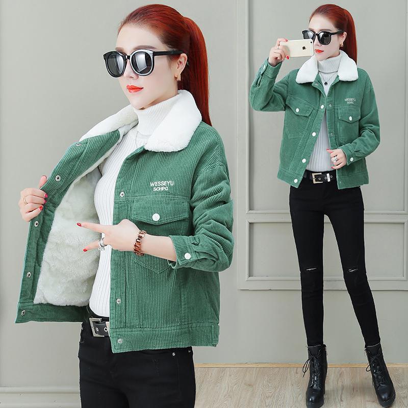 Осень зима кордуру женская новая 2020 повседневная одиночная грудь плюс бархат сгущающая джинсовая куртка женская теплая верхняя одежда R473