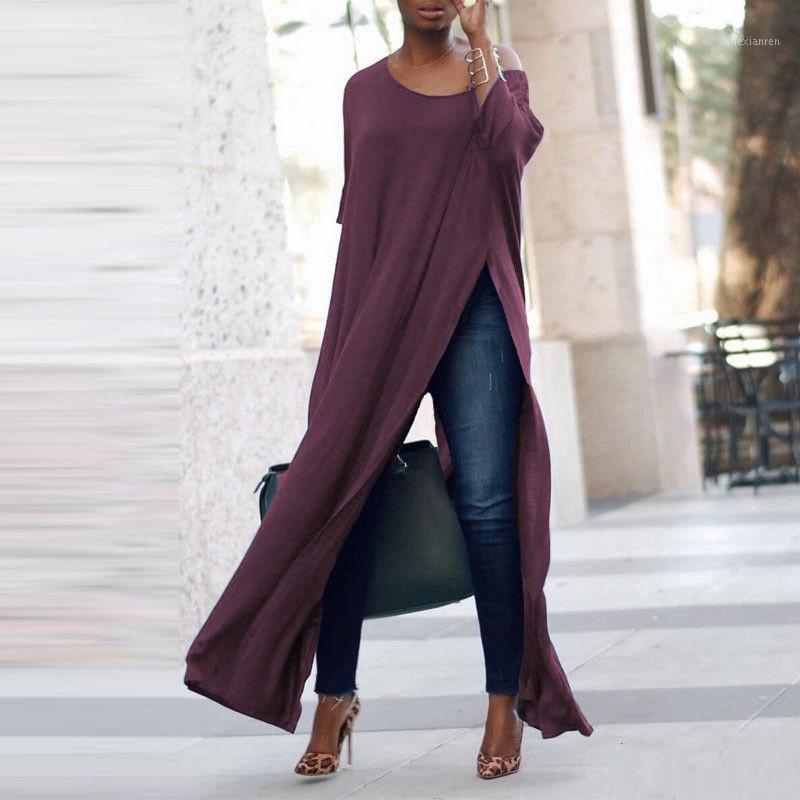 2018 Женщины Прибытие с длинным рукавом Сплит рубашка 2018 Дамы Сплошной Цвет Офф плеча Скален Длинные Топы Блузка Туника Плюс Размеры Рубашка1
