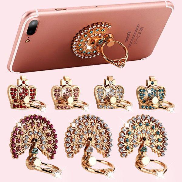 iPhone 7 8 x Samsung Parmak Halka Tutucu Standı için 360 Derece telefonu tutucu Rotasyon Elmas Bling Telefon standı tutucu metal