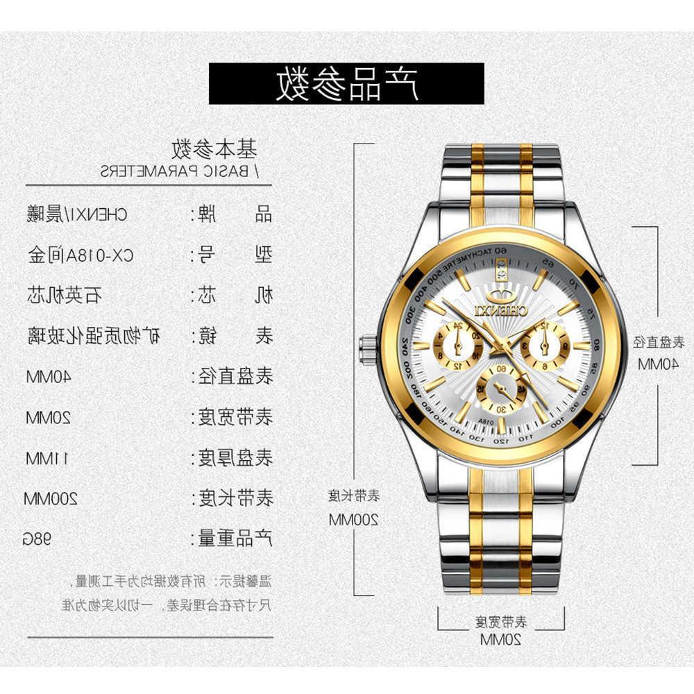 / Cinturón de acero Chenxi Quartz 018A Diamond Inlaid Fashion Hombres de negocios
