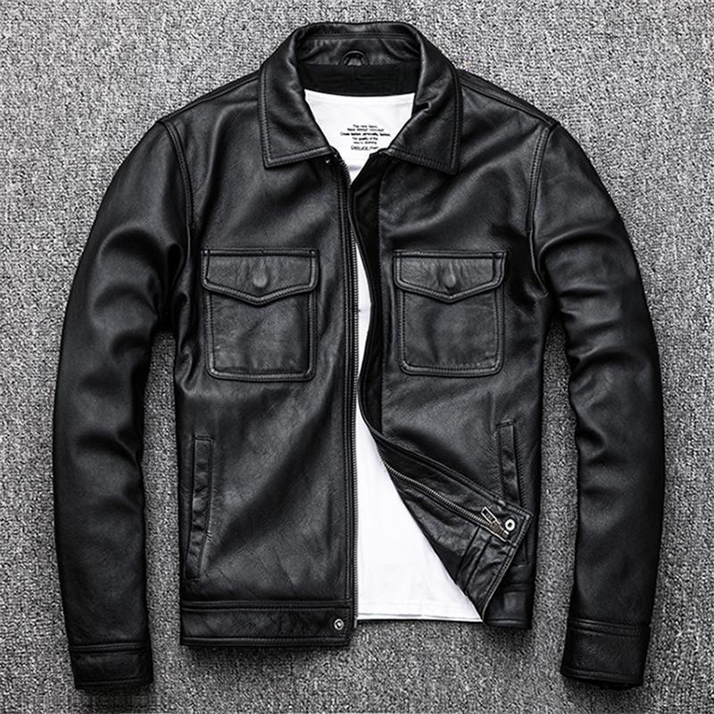 Gratuit Shipping.Genuine cuir cuir jacket.Winter chaud occasionnels hommes noirs de peau de vache clothes.quality taille plus mince coat.54-56 201019