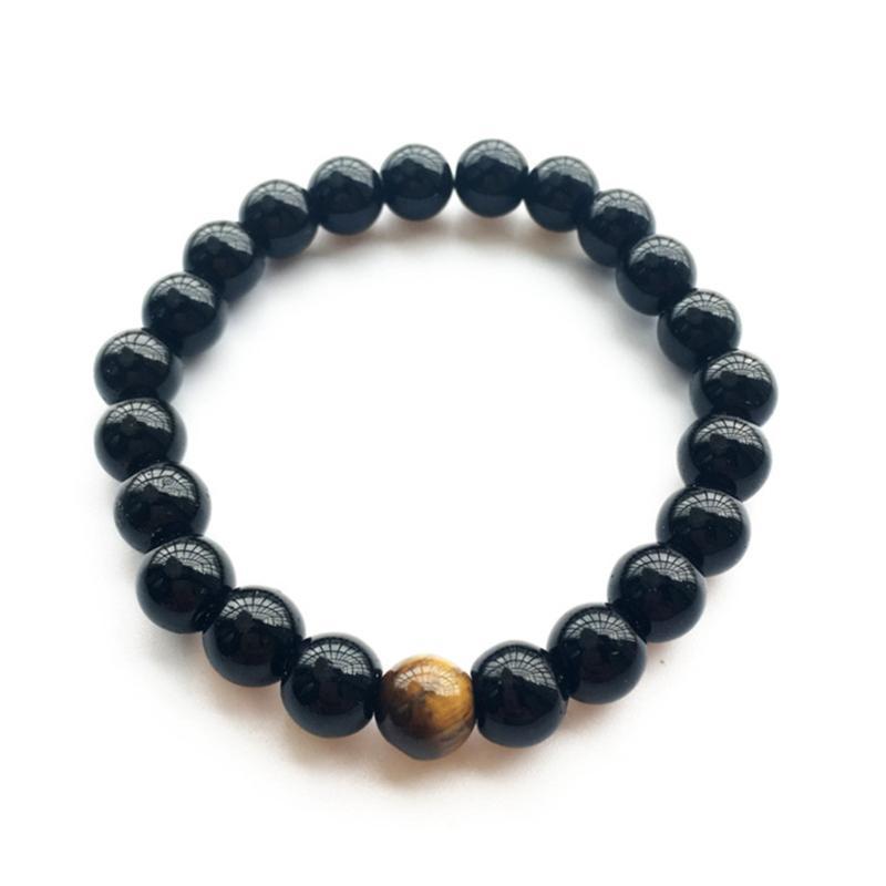 Braccialetti di fascino Braccialetto da uomo Braccialetto perline giallo Tiger Eye Natural Stone Moda per le donne Uomo Gioielli Preghiera Yoga
