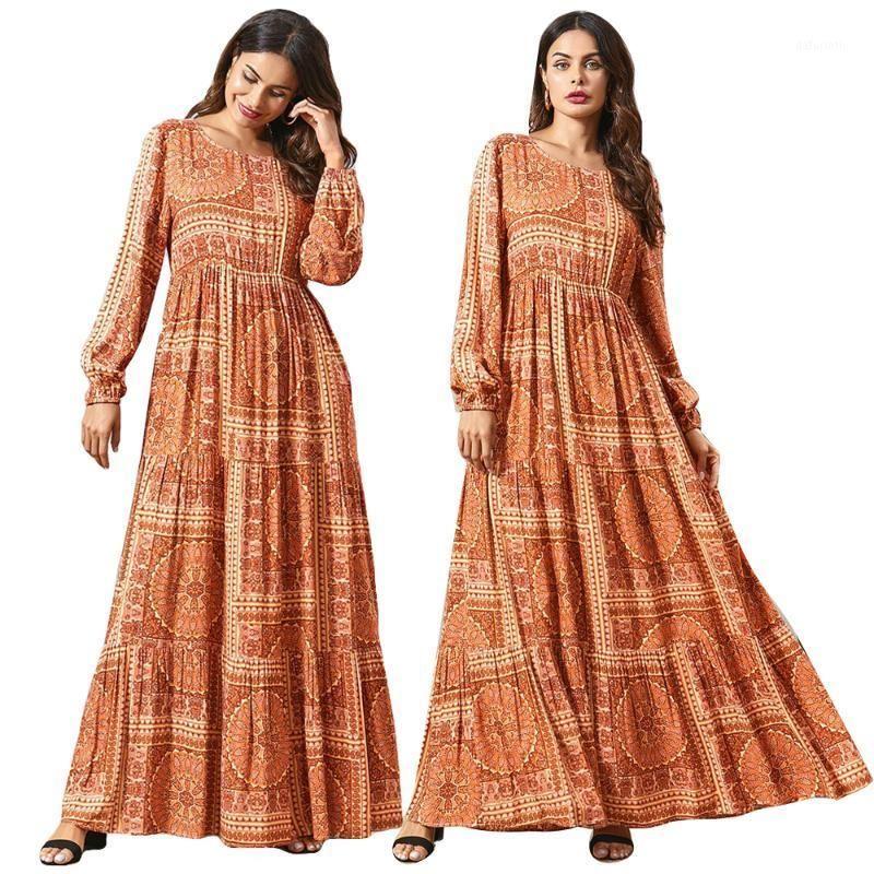 Dubaï Femmes Musulman Maxi Robe Jilbab Kaftan ethnique Abaya Turquie Vintage décontracté Ramadan Ramadan Robes à manches longues Vêtements Nouveau1