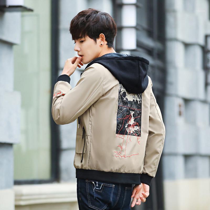 Moda delgada cremalleras hombres chaqueta casual con capucha manga larga chaquetas delgadas y abrigos estilo coreano sobre abrigo más tamaño1