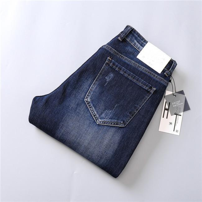 New Designer Mens Jeans Solid Blue Slim-leg Jeans Skinny Fit Denim Men's Fashion Designer Jeans Top Quality W28-W38