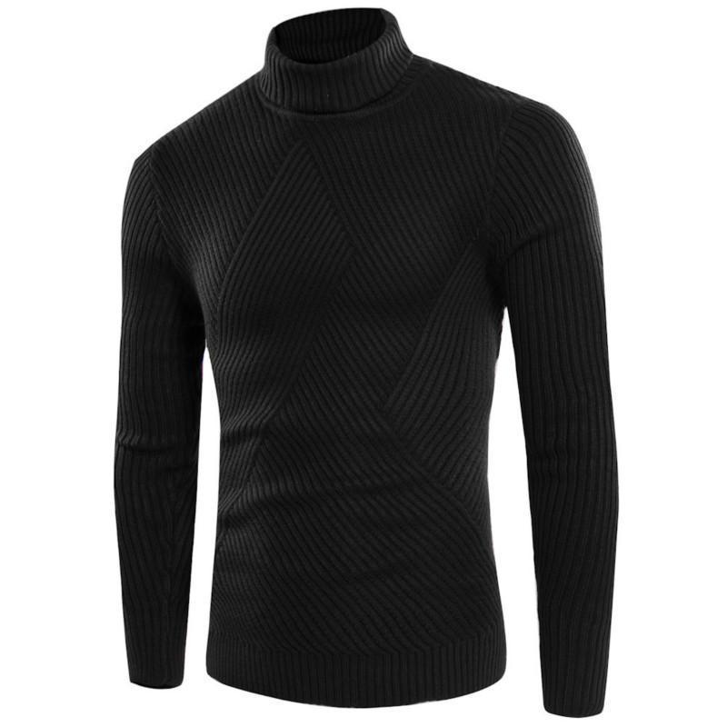 Tendencia europea Nuevo Simple Pullover Turtleneck Solid Color Sweater