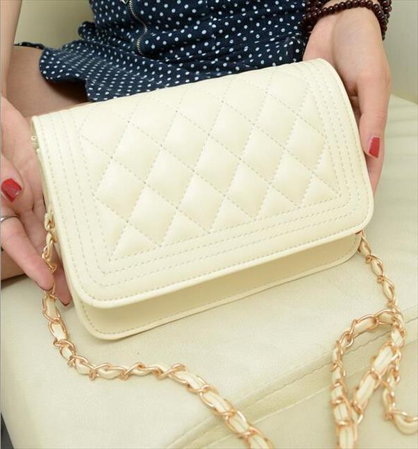 Pastille Mode-Handtaschen Qualität PU-Leder Frauen Beutel Süßes Mädchen kleine Quadrat-Paket Lattice Schulter Weibliche Tasche